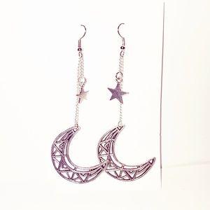 SIlver Geometric Moon Drop Earrings